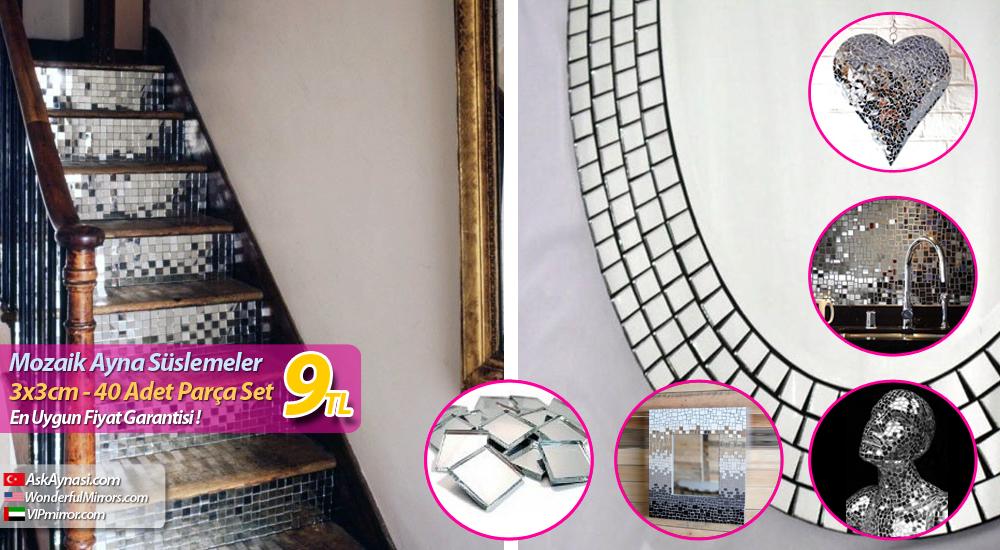 Mozaik Ayna Süslemeler 3x3cm 40 Adet Aşk Aynası Isimli Ayna